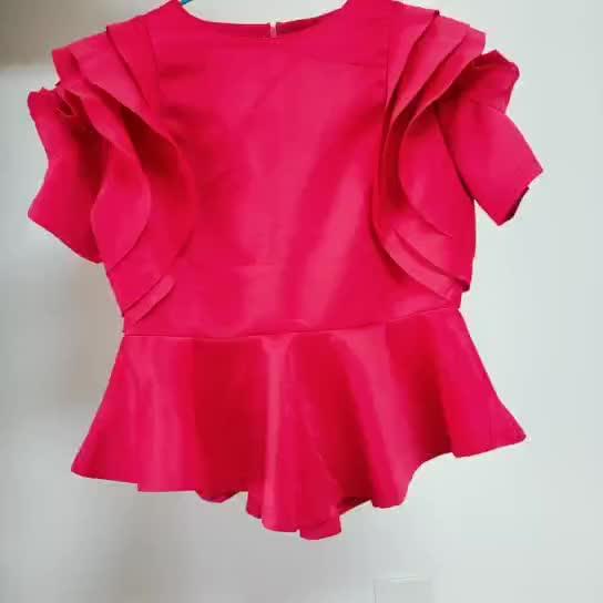Or10370h vente chaude femmes vêtements d'été falbala dames blouses et hauts