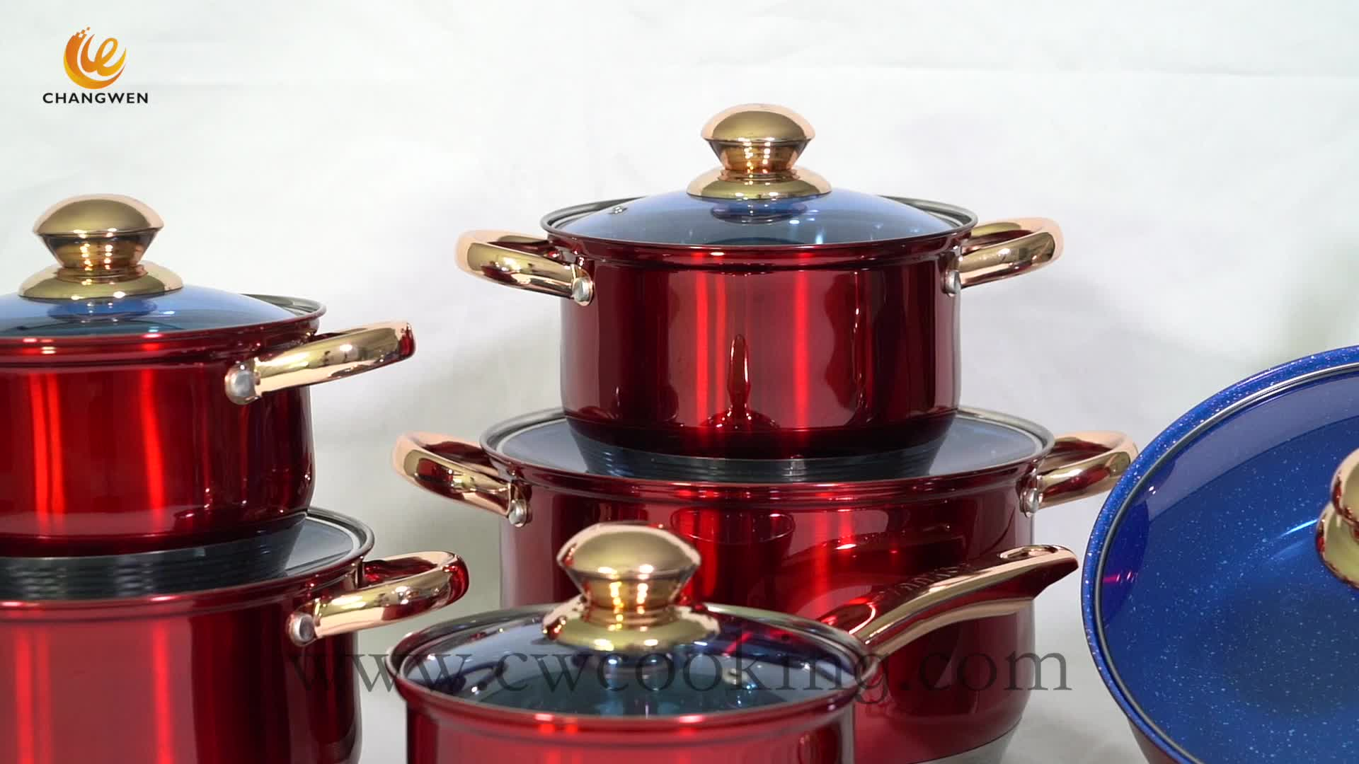 Wholesale New Design 12 Pcs Stainless Steel Super Capsule Bottom Colorful Cookware Set