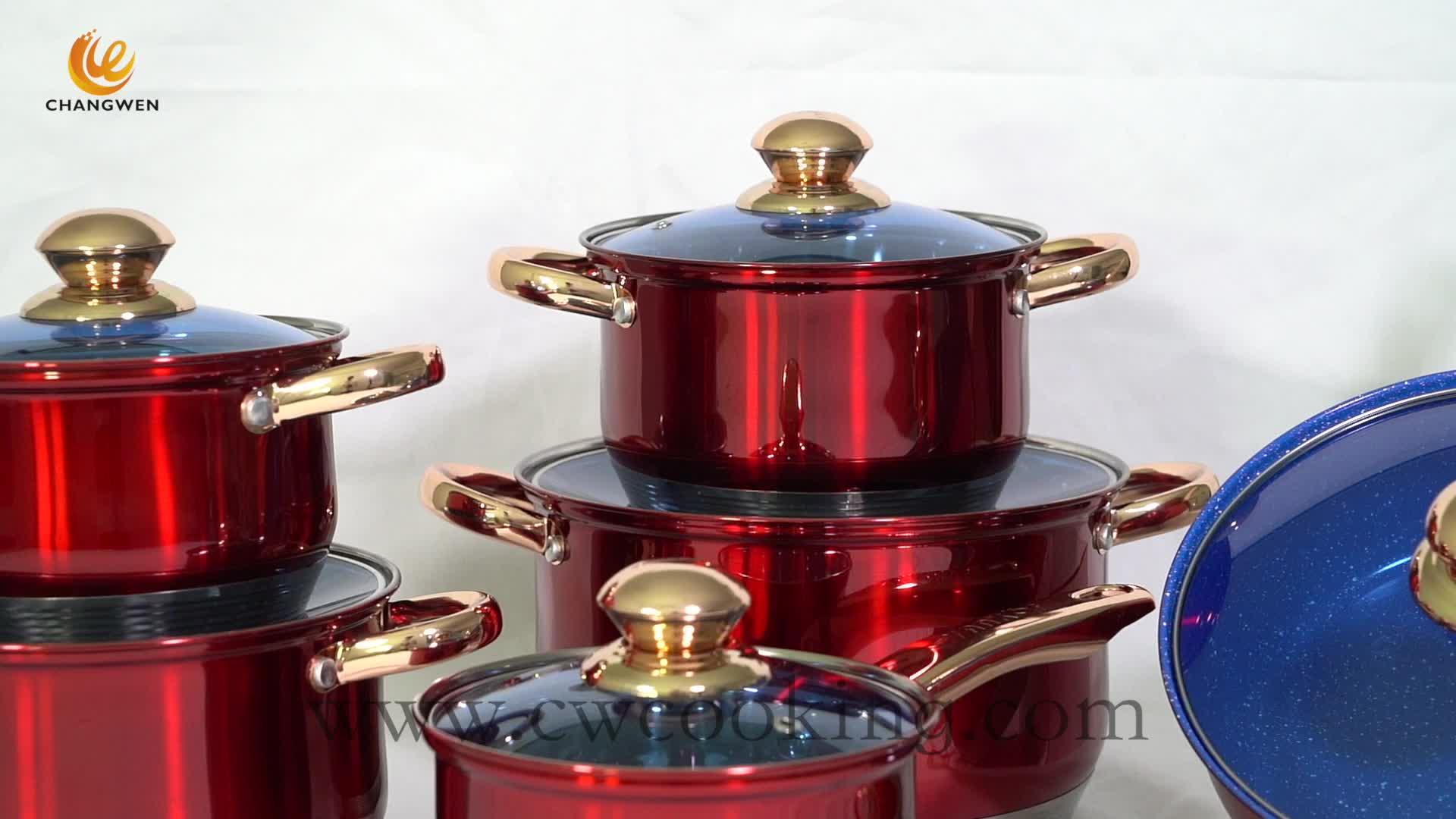 Cao chất lượng sinh thái thân thiện với 12pcs cảm ứng & cooker & bếp nấu thép không gỉ không dính cookware set với siêu capsule dưới