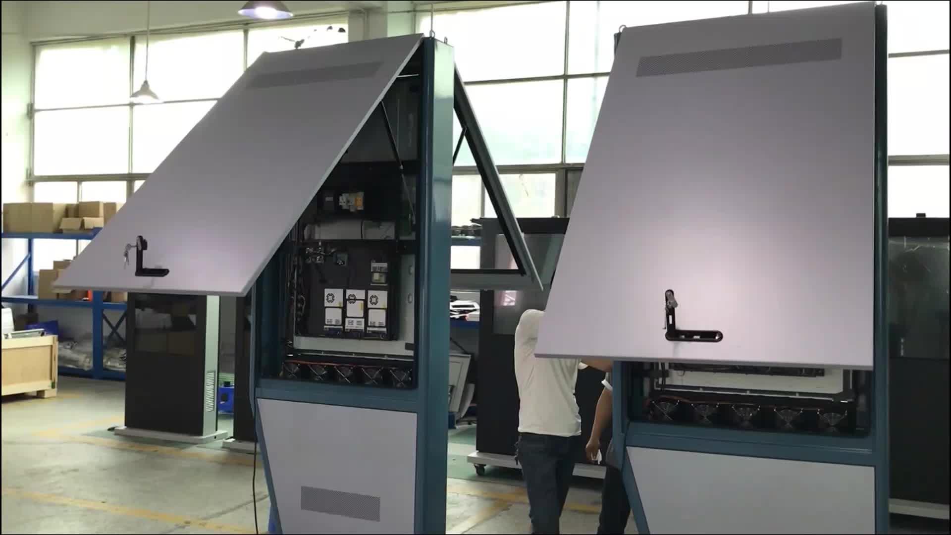 Impermeabile standing outdoor di alta luminosità del display lcd monitor outdoor chiosco digitale ip65 video stand lcd giocatore di pubblicità