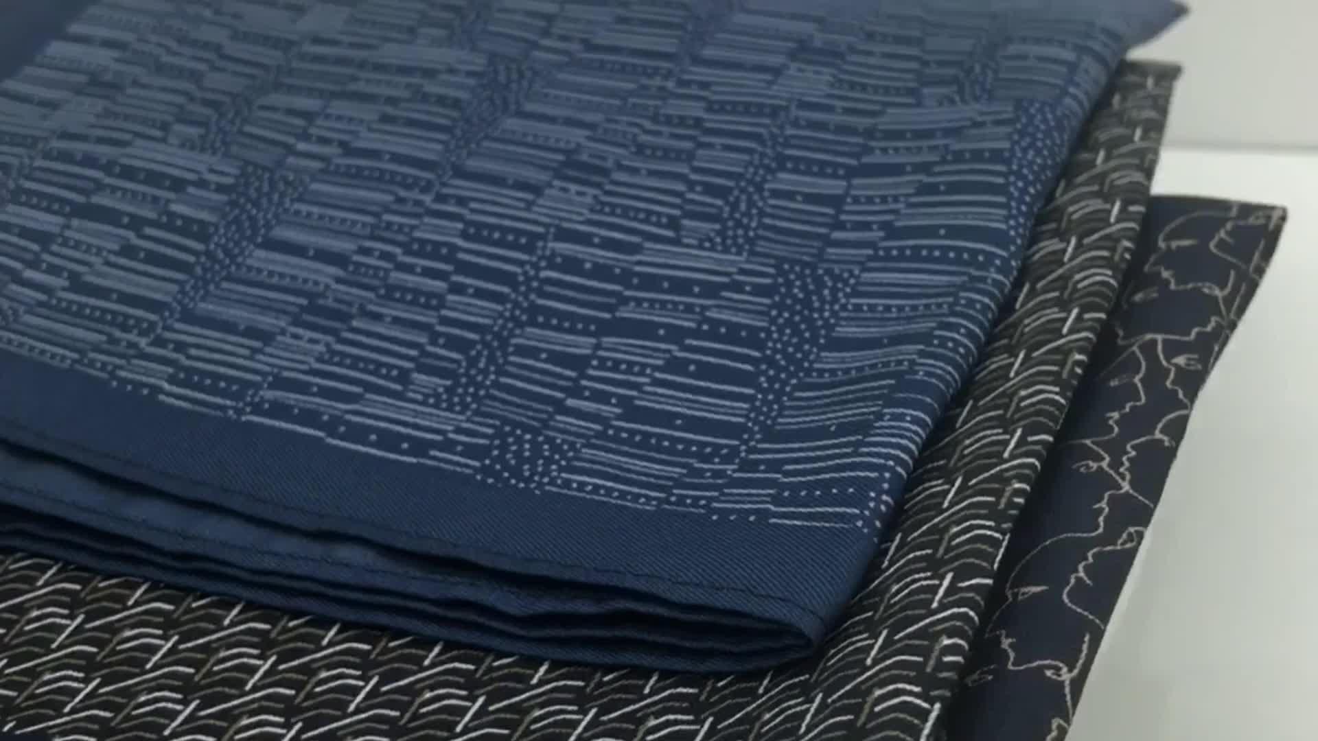 Screen printed 100% silk pocket square