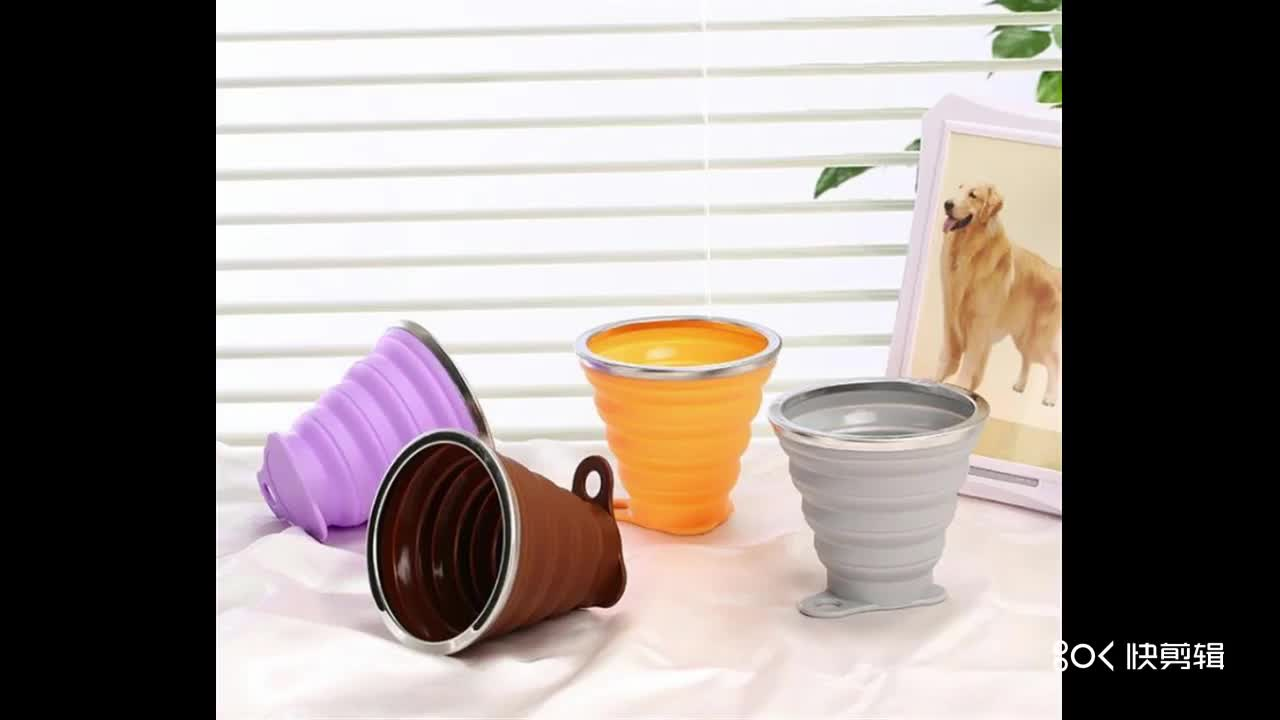 high quality silicone foldable cup/ silicone collapsible cup with lid 200ml 7oz bpa free