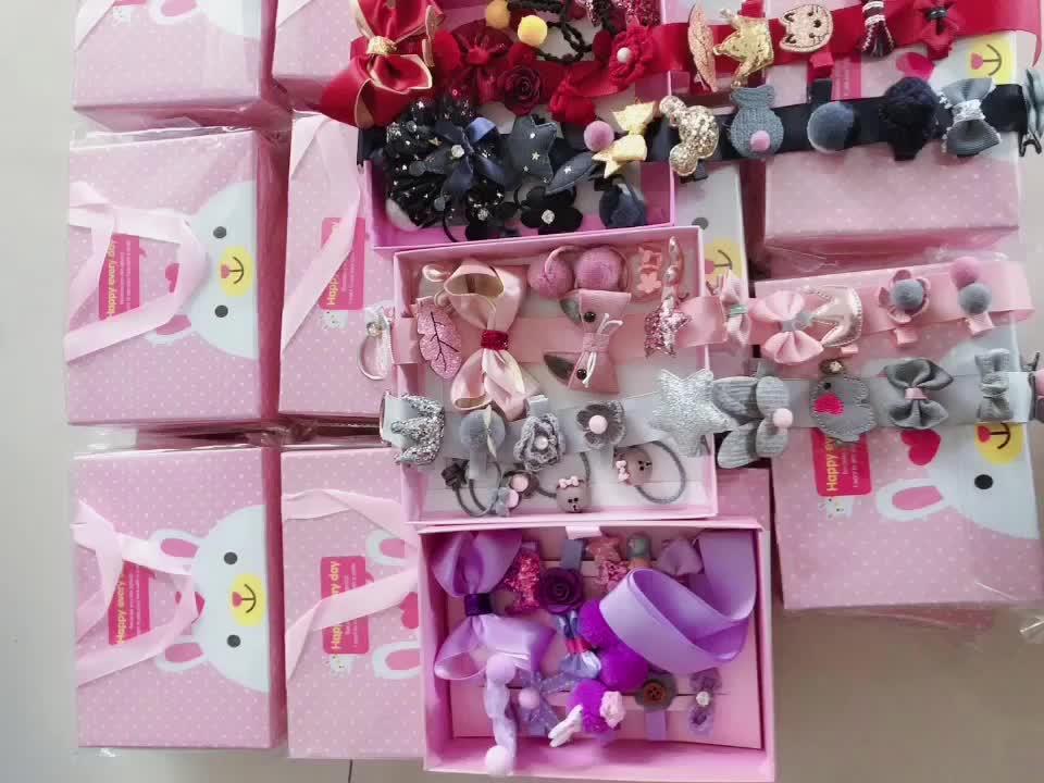 2019 sản phẩm Mới màu hồng lấp lánh tóc phụ kiện thiết lập long lanh tóc clip quà tặng set với mini tóc bow