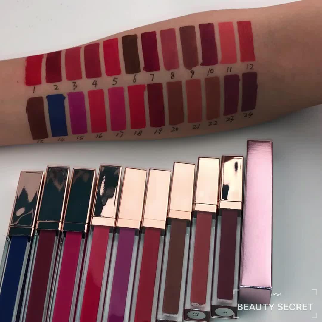 Kein Logo Private Label Langlebig Wasserdichtes 24-farbiges Quadrat Matte Flüssiger Lippenstift