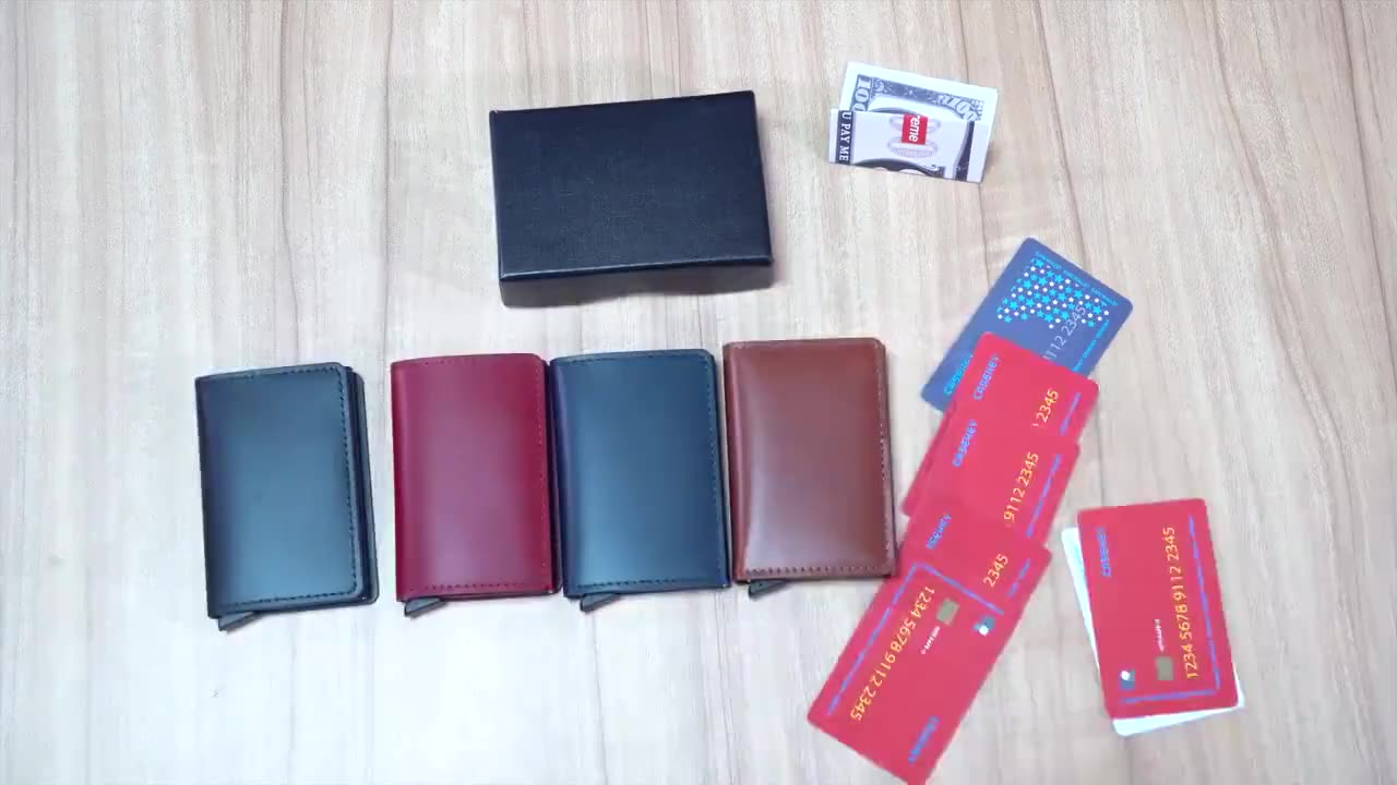 Real Leather RFID Blocking Card Box Credit Card Bank Card Slim Wallet Portable Pouch Holder For Christmas Promotional Gifts