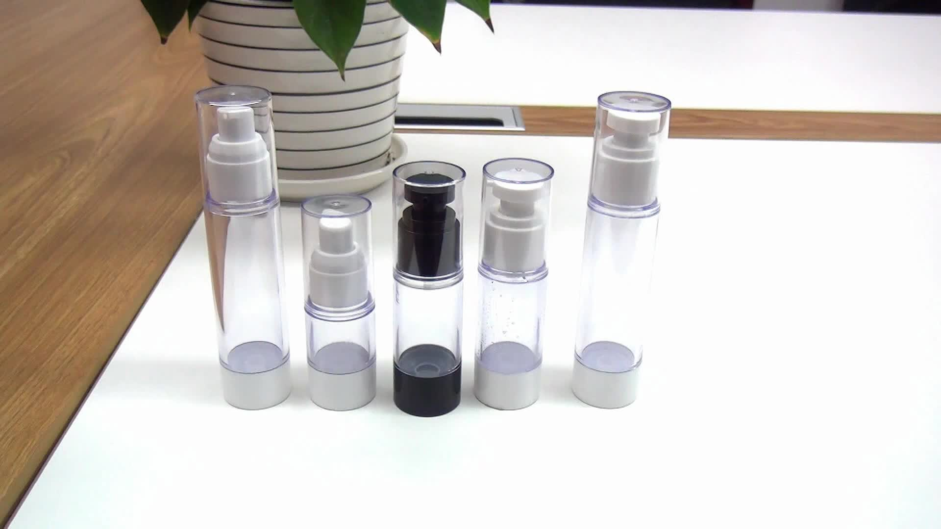 Empty cosmetic 15ml 30ml 50ml 100ml black airless dispenser lotion pump bottle