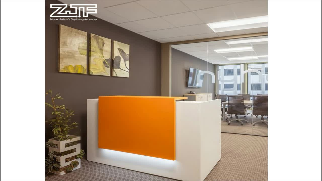 100% China corian acrylic solid surface reception counter high gloss hotel LED reception desk