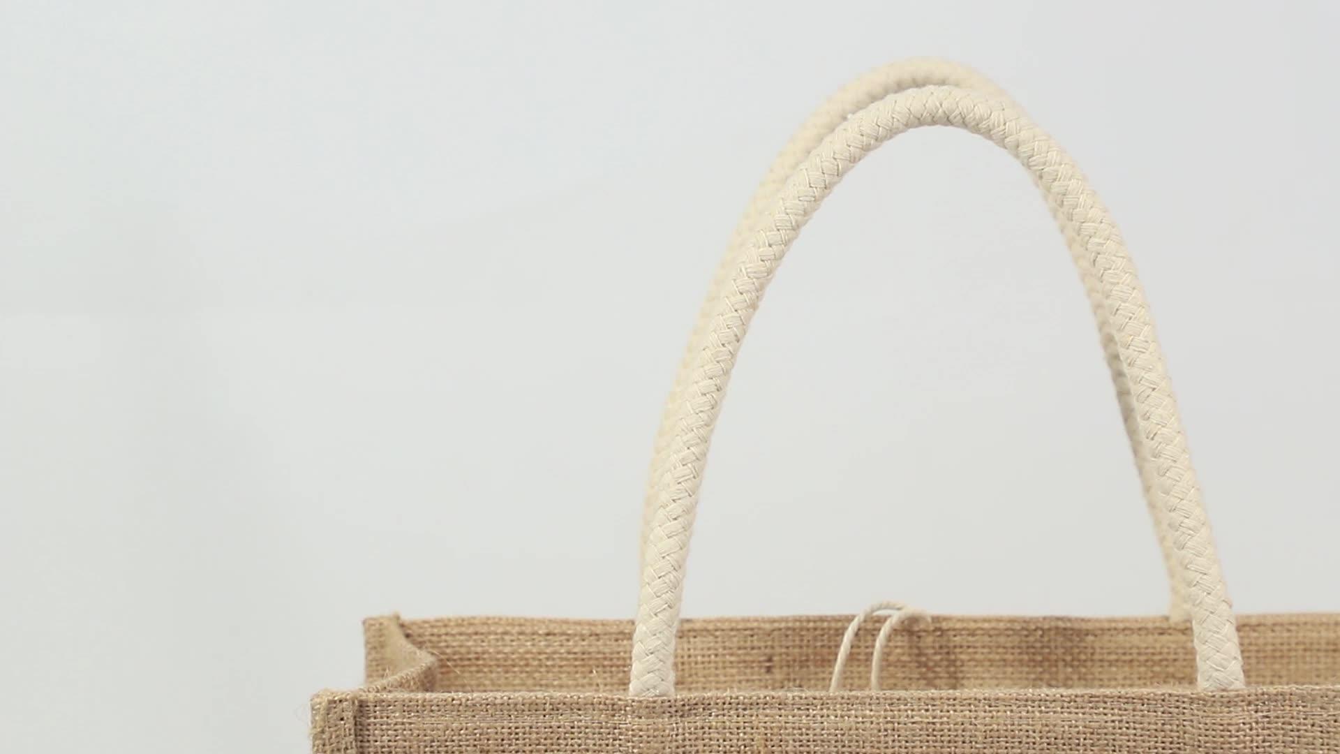 Toptan Logo şeffaf PVC pencere jüt alışveriş çantası hediye