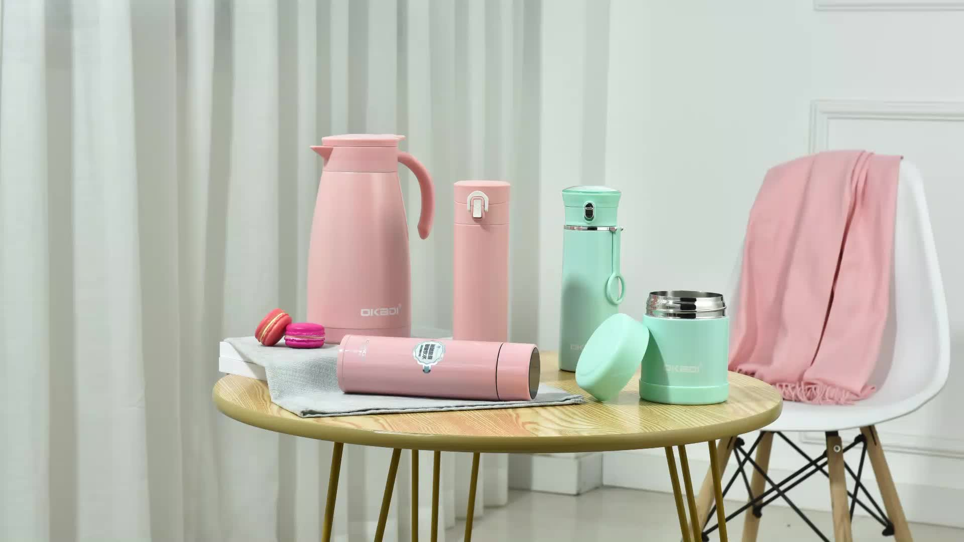 Okadi 新デザインホット販売ステンレススティール魔法瓶食品ジャースプーン