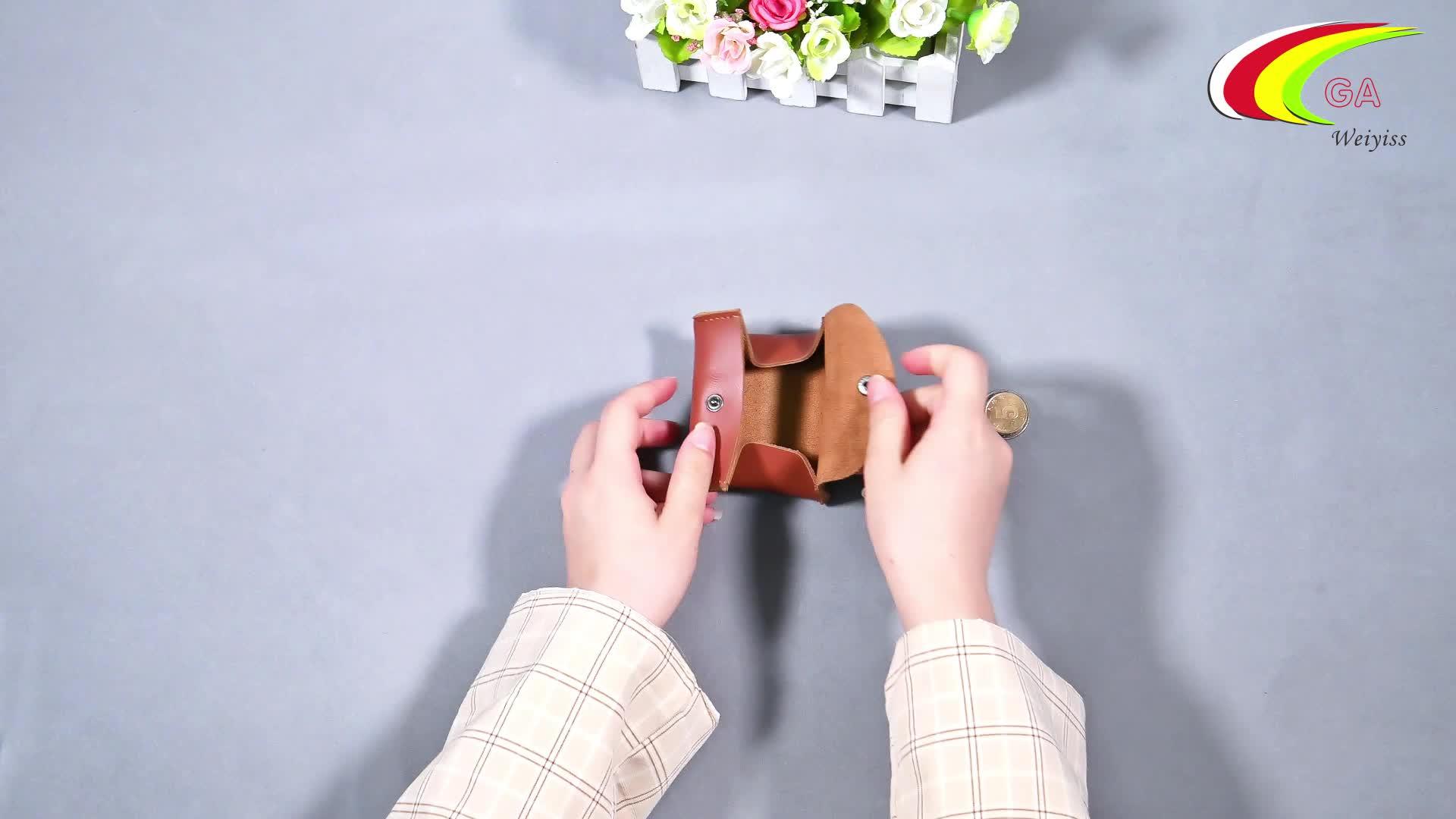 Handmade genuine leather change pocket coin purse coin organizer