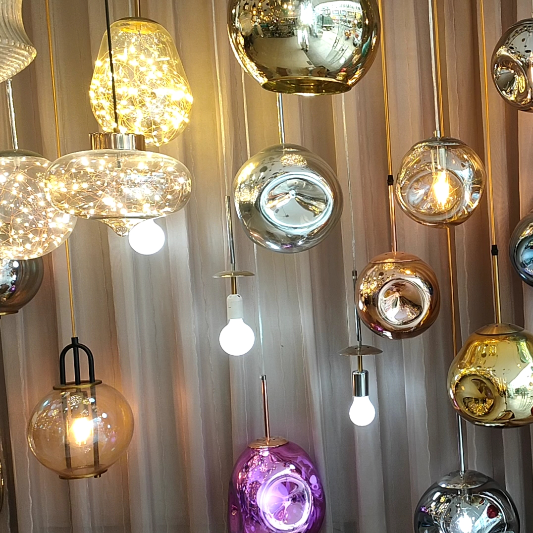LED Decorate Glass Hanging Lamp Dining Room Pendant Light glass lamp shade for hotels home