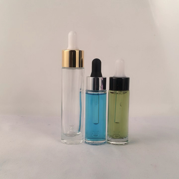 China hot sale 15ml 20ml 30ml dropper bottle emulsion skin care solution cosmetic glass bottle