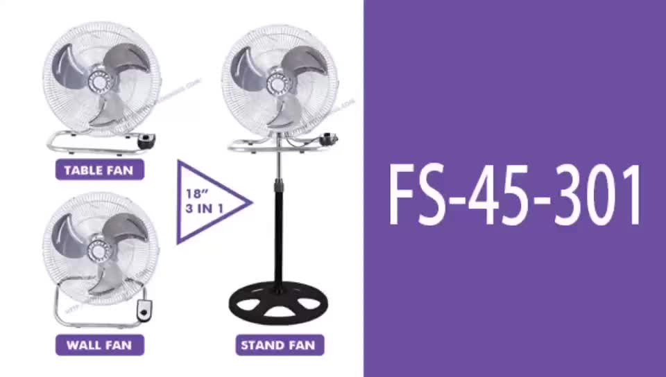18 inch wall fans CE/CB powerful floor fan 3 in 1 industrial stand fan