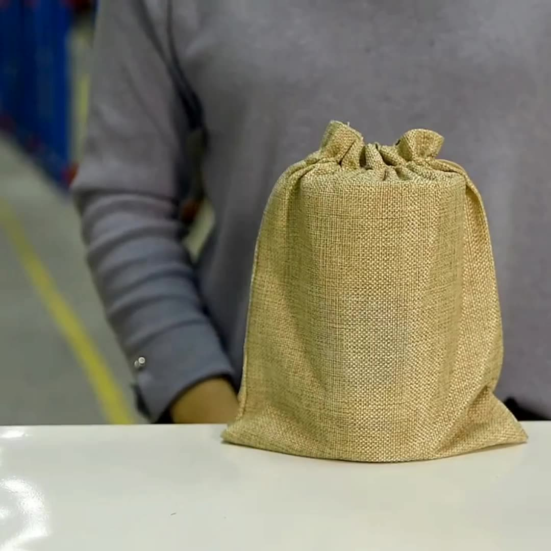 Eco Friendly Customize Recyclable Jute Gunny Bag  Wholesale  Burlap Bag  with Drawstring