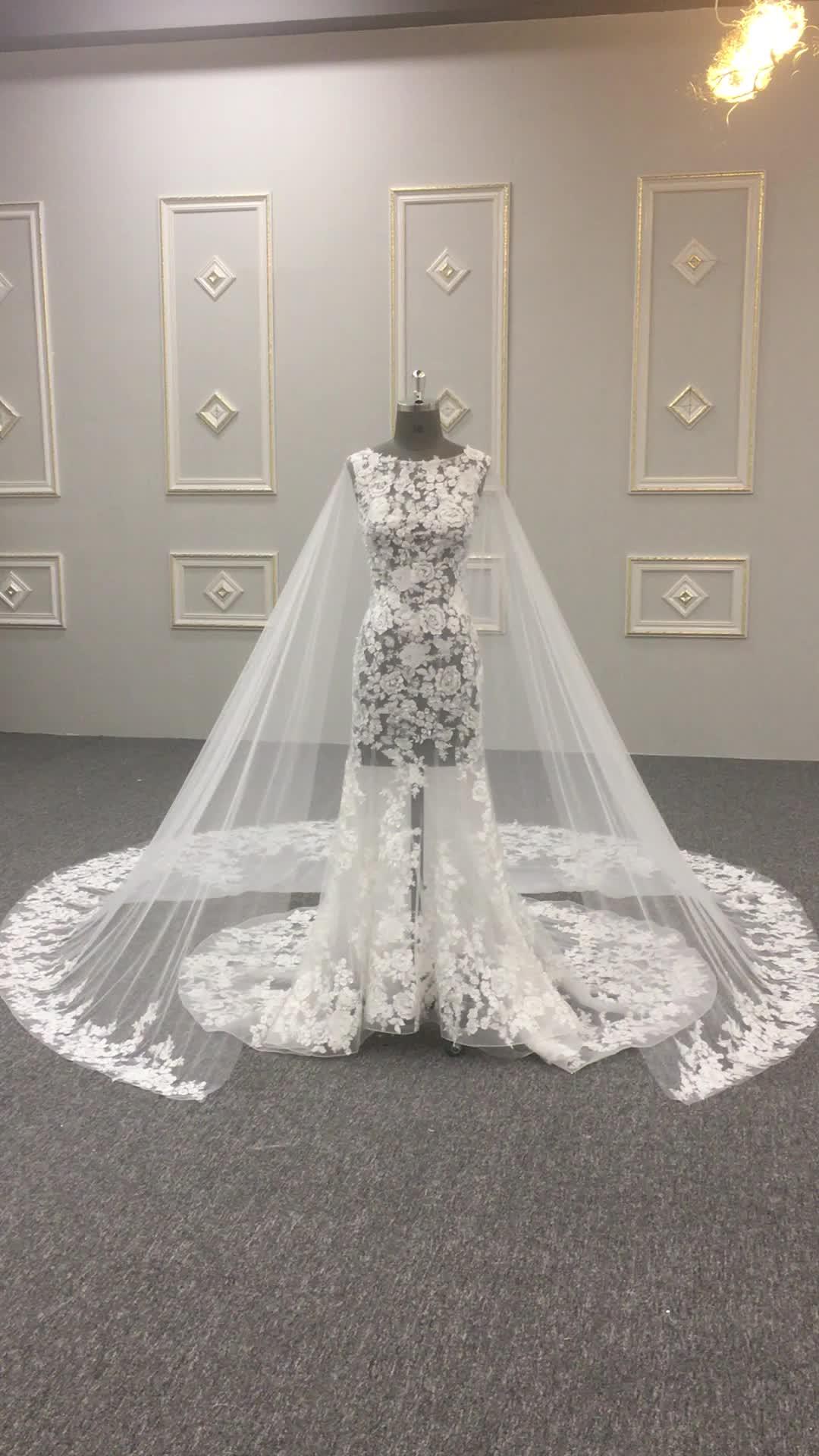 Alibaba Seksi Terompet Putri Duyung Lace Wedding Dress 2017 HA697