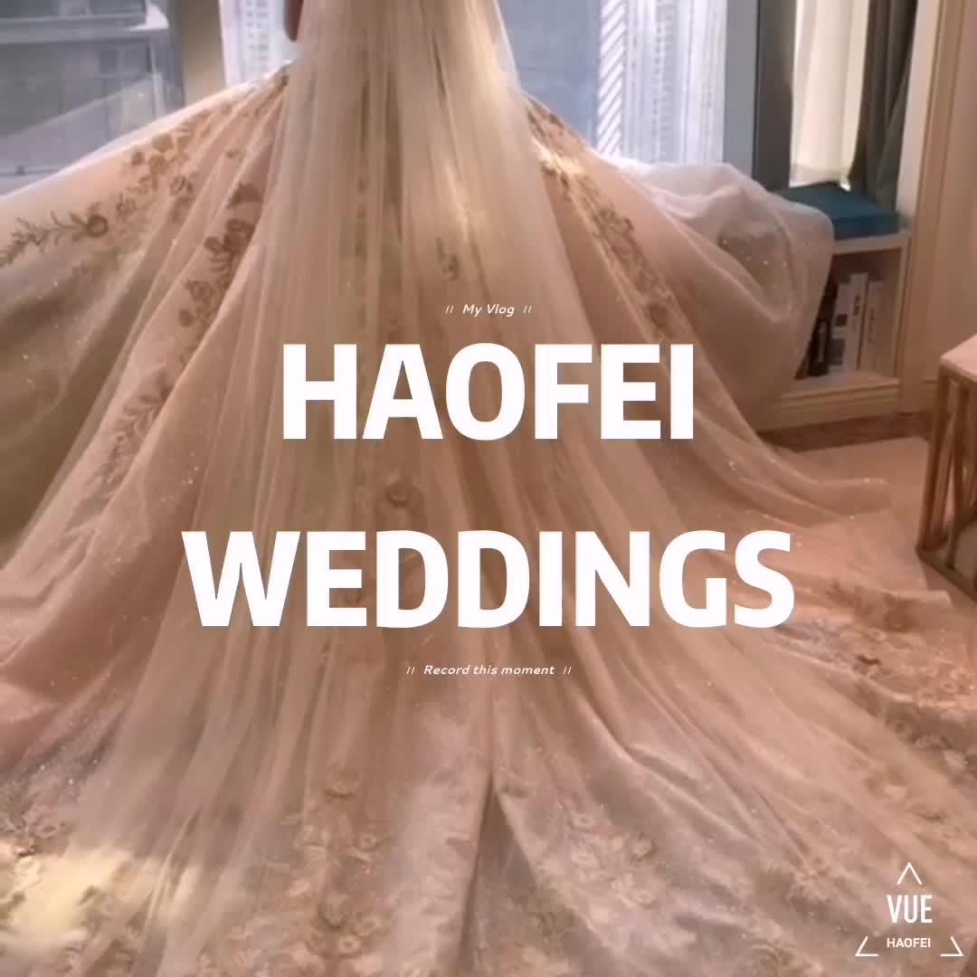 Vendita calda boutique di abiti da sposa di lunghezza del pavimento senza maniche in pizzo vestito da cerimonia nuziale della coda 2019