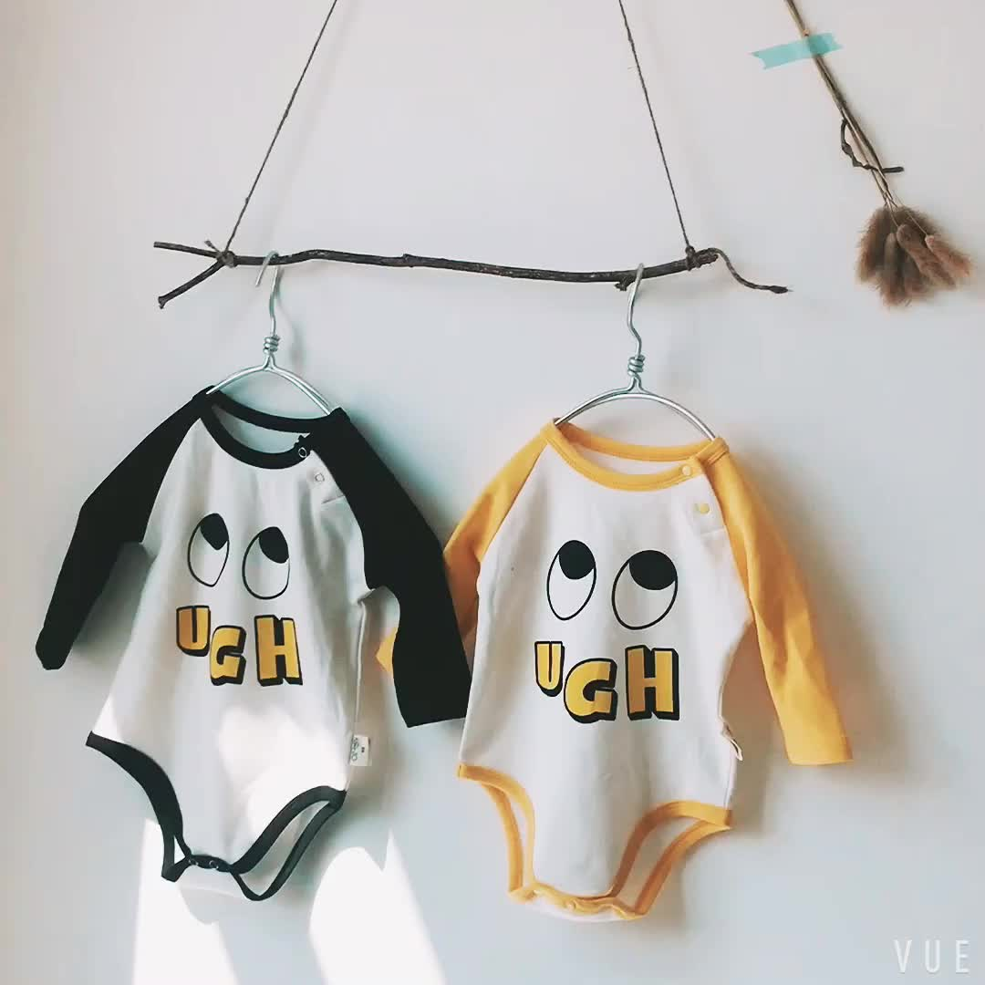 Long sleeve cute unisex 1 year old baby items clothes baby cotton night suits romper jumpsuits 2729