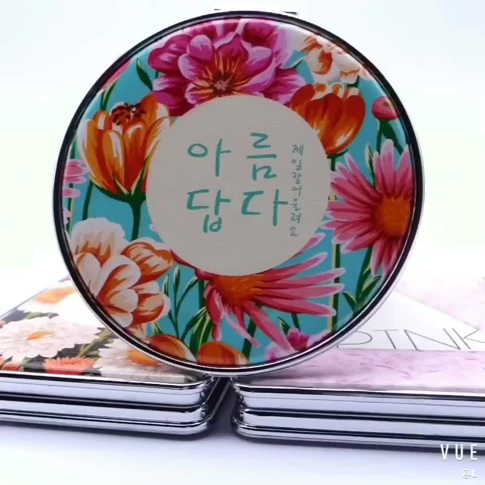 Custom logo Promotional double side portable mini compact folding pocket cosmetic makeup hand mirror