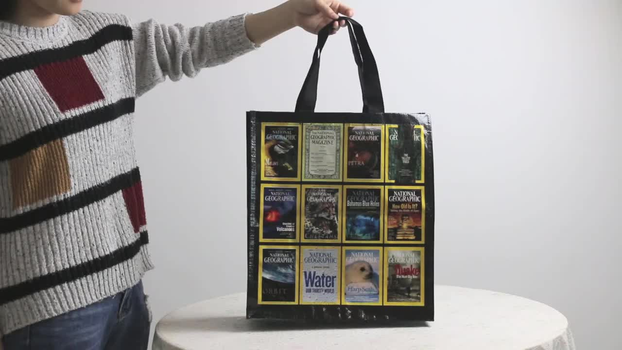 Custom Wholesale Full Color Shopping Bag, Polypropylene Laminated PP Non Woven Tote Bag