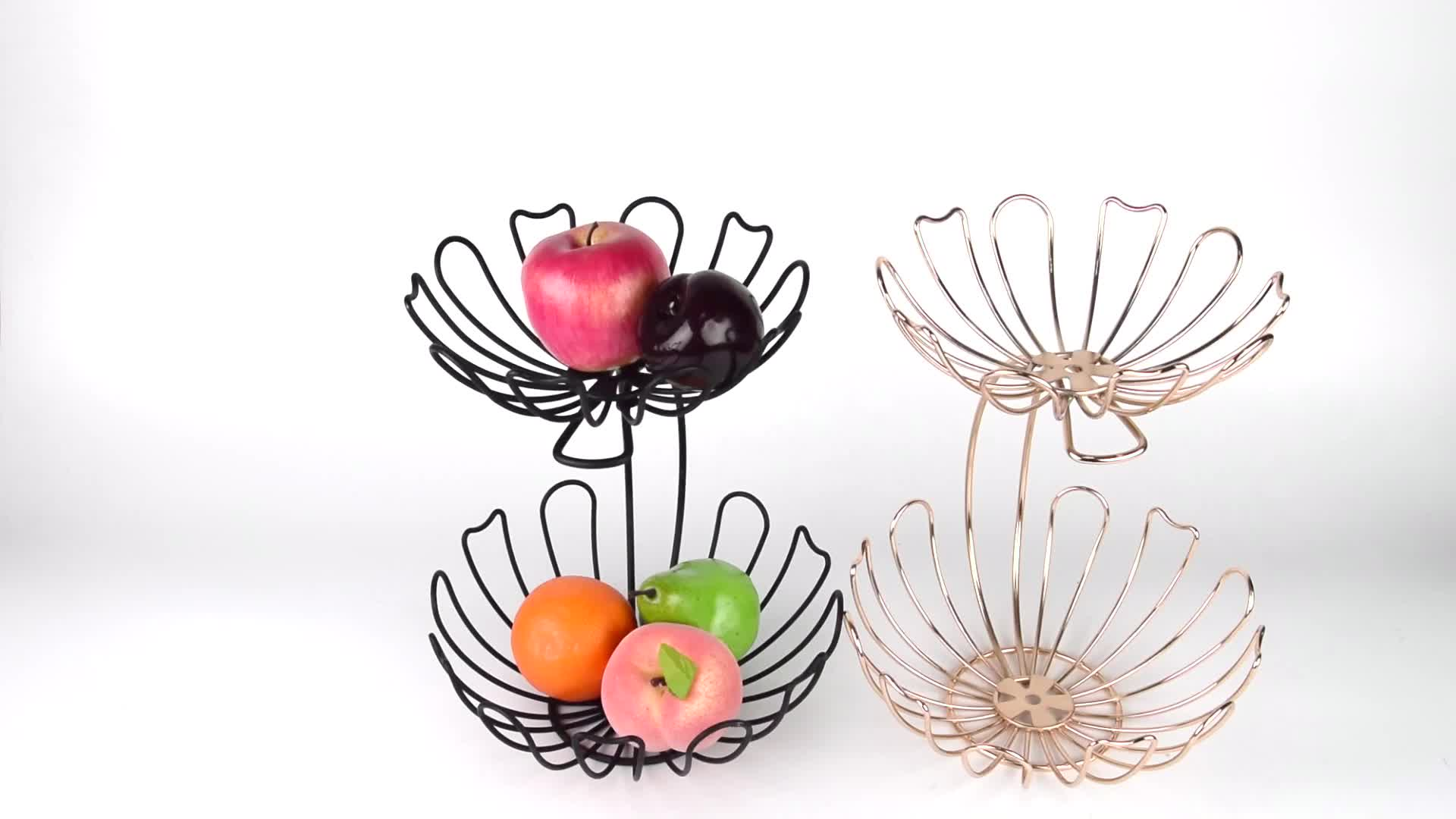 Kitchen Home Storage Display Decorative Iron 2-Tier Fruit Basket