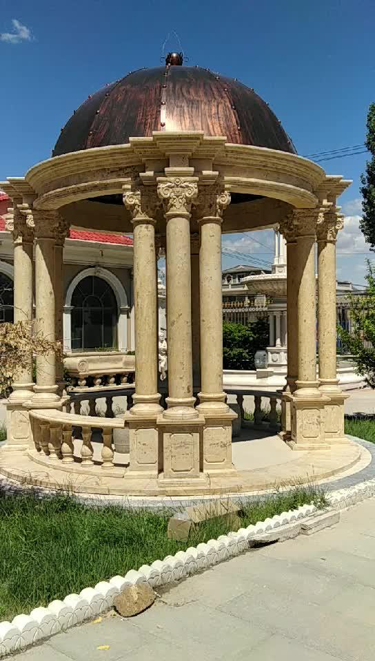 Yellow Limestone large Carving Gazebo with Columns