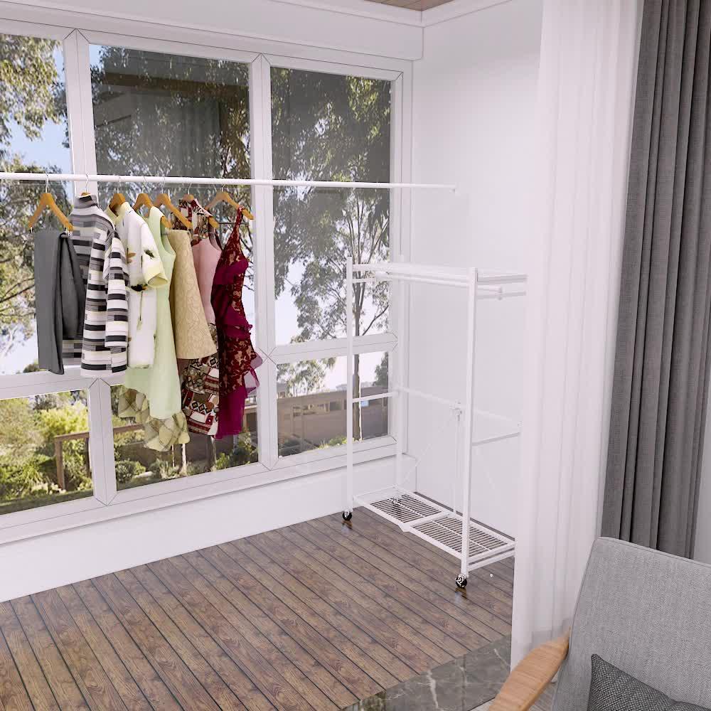 (Producto de la patente) hogar de pie ropa plegable rack de ropa plegable estantería con ruedas