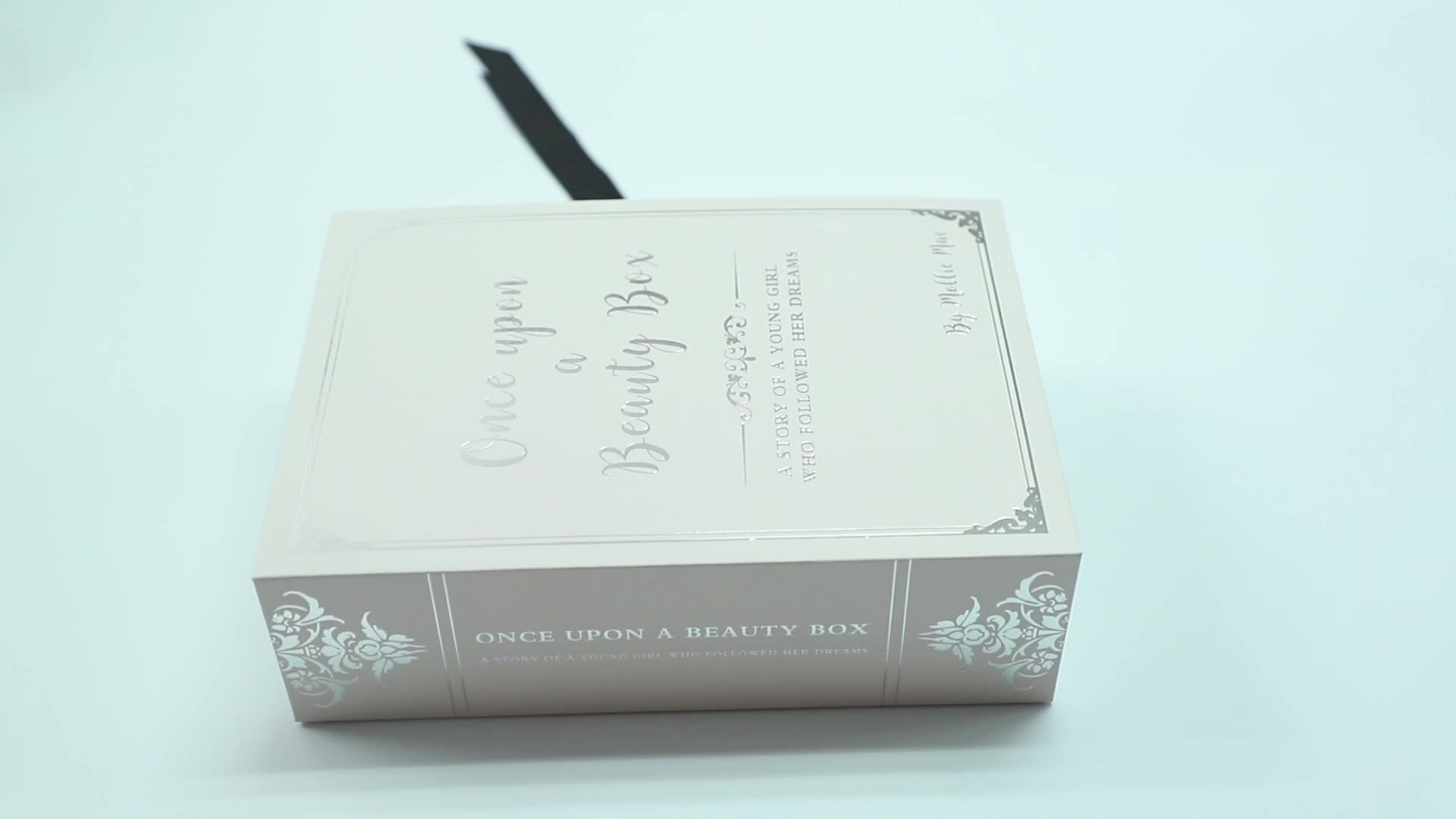 Recycled Custom Cardboard Pink Drawer Type Square Packaging Box With Ribbon