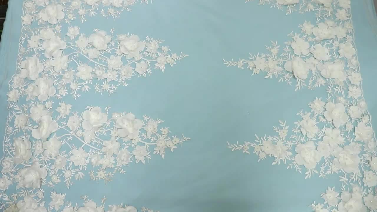 MX108 custom made white polyester embroidery 3D flower floral beaded tulle lace fabric