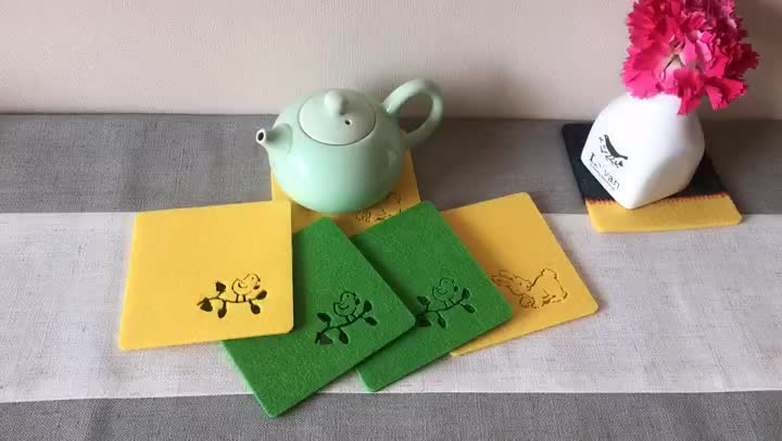 Hot wholesale custom dinner sets absorbent drink coasters beer sheep tin blank cork polyester felt cup coaster table mat