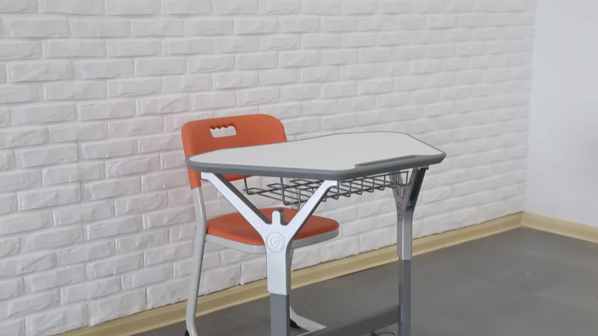 Modern Trapezoid Single Student Desk and Chairs furniture for school