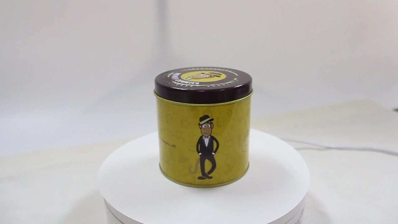 Custom Cookie Tin Boxes Round Monkey Cookie Packaging Boxes Round Cookie Tin