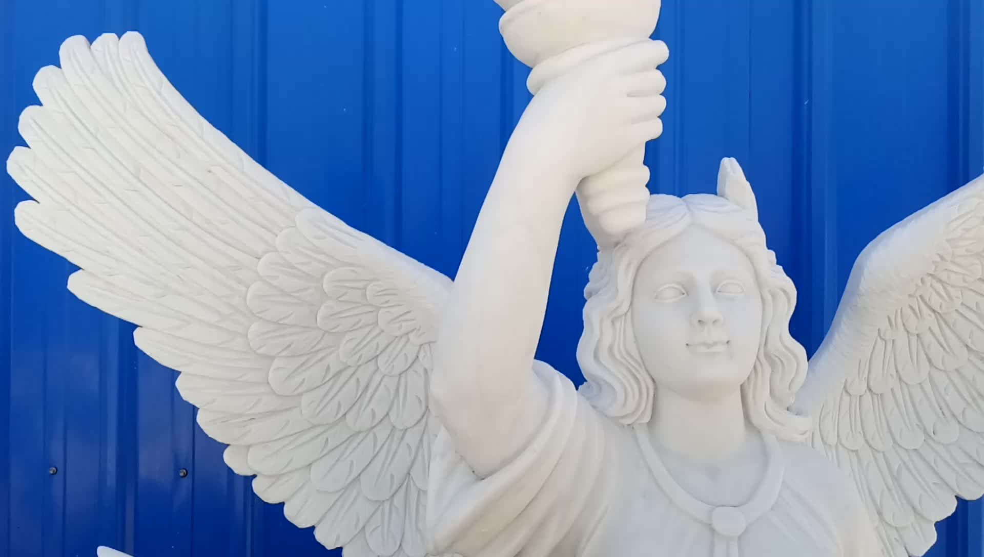 Customized service large marble angel statue for garden NTBS-316Y