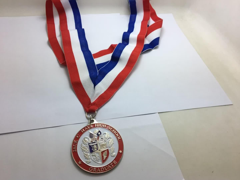Color oro jack c hays de la escuela secundaria medalla precio barato medallas personalizadas de alta