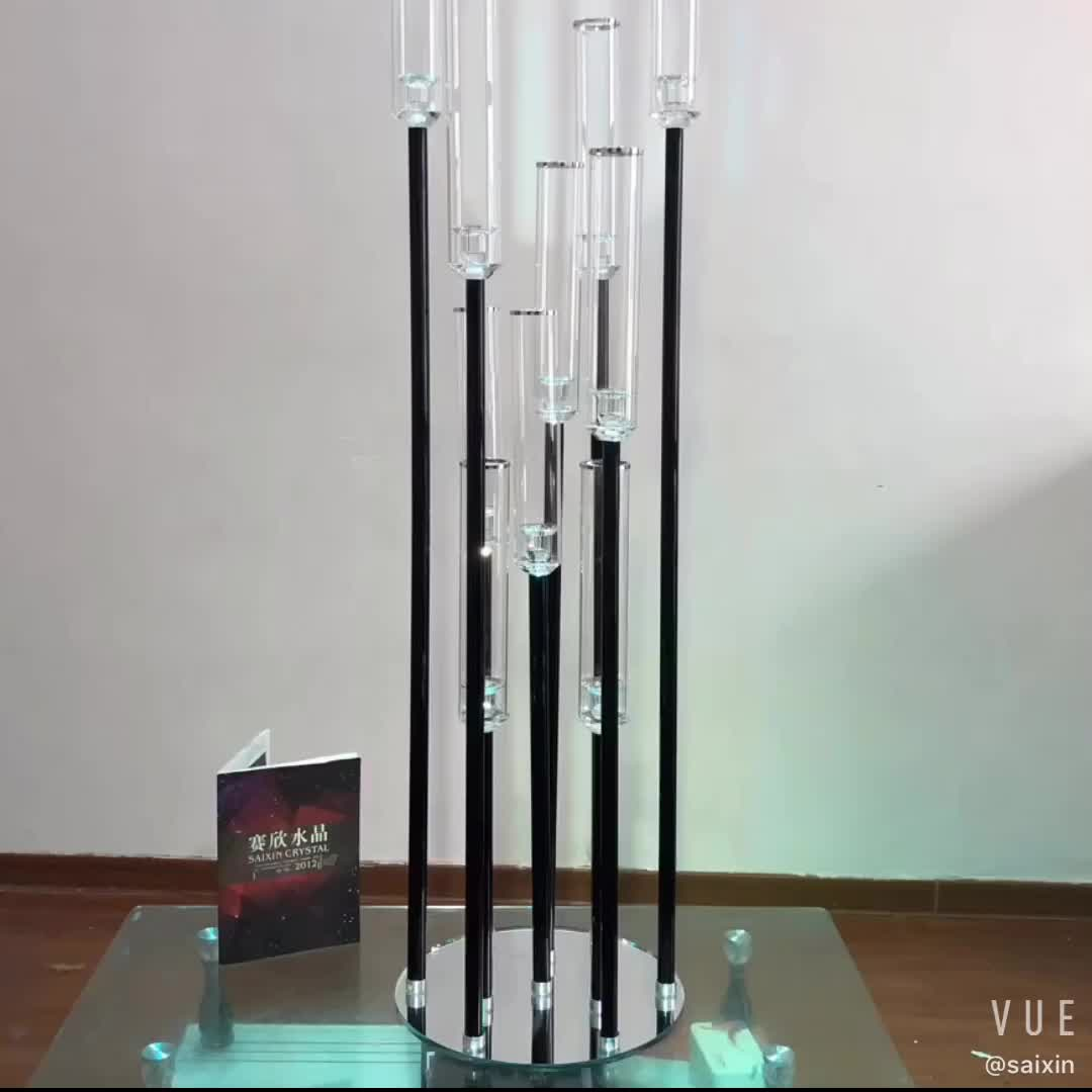 ZT-431Wedding event decorations black crystal pillar candlestick candle holder