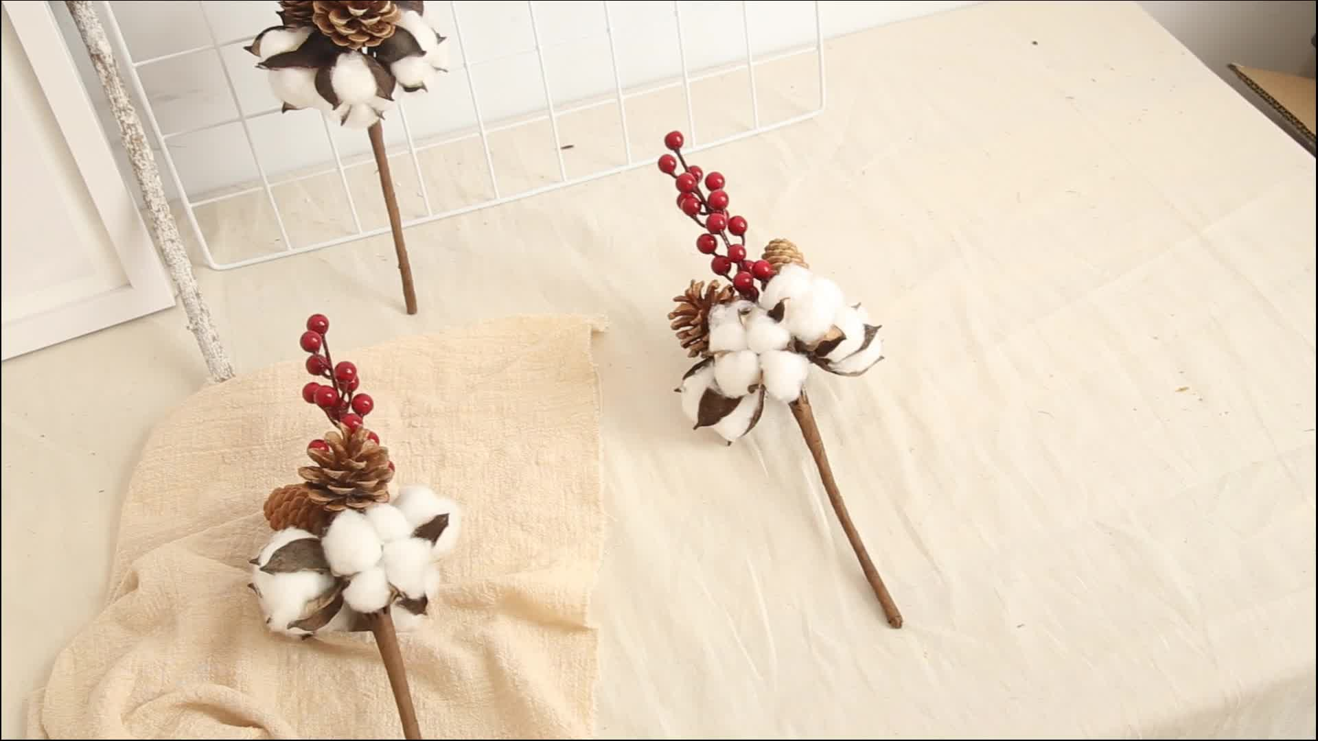 Beautiful artificial Cotton Berry flower christmas wall decoration for home wedding party