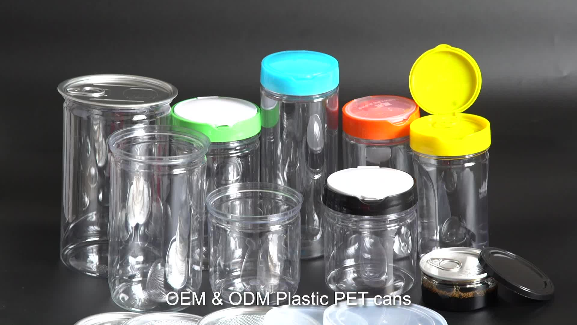 custom food can packaging empty composite pet plastic food jar with paper tube label