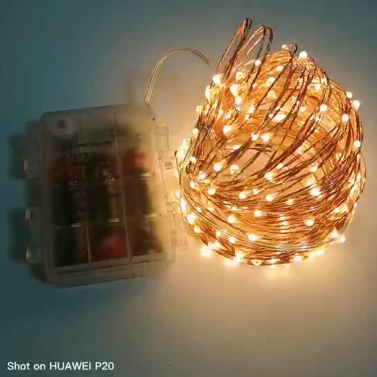 Guirlande Lumineuse 10m 100led Blanc Chaud Lumières À Piles Télécommande Dimmable Lumière De Fil de Cuivre pour Jardin intérieur
