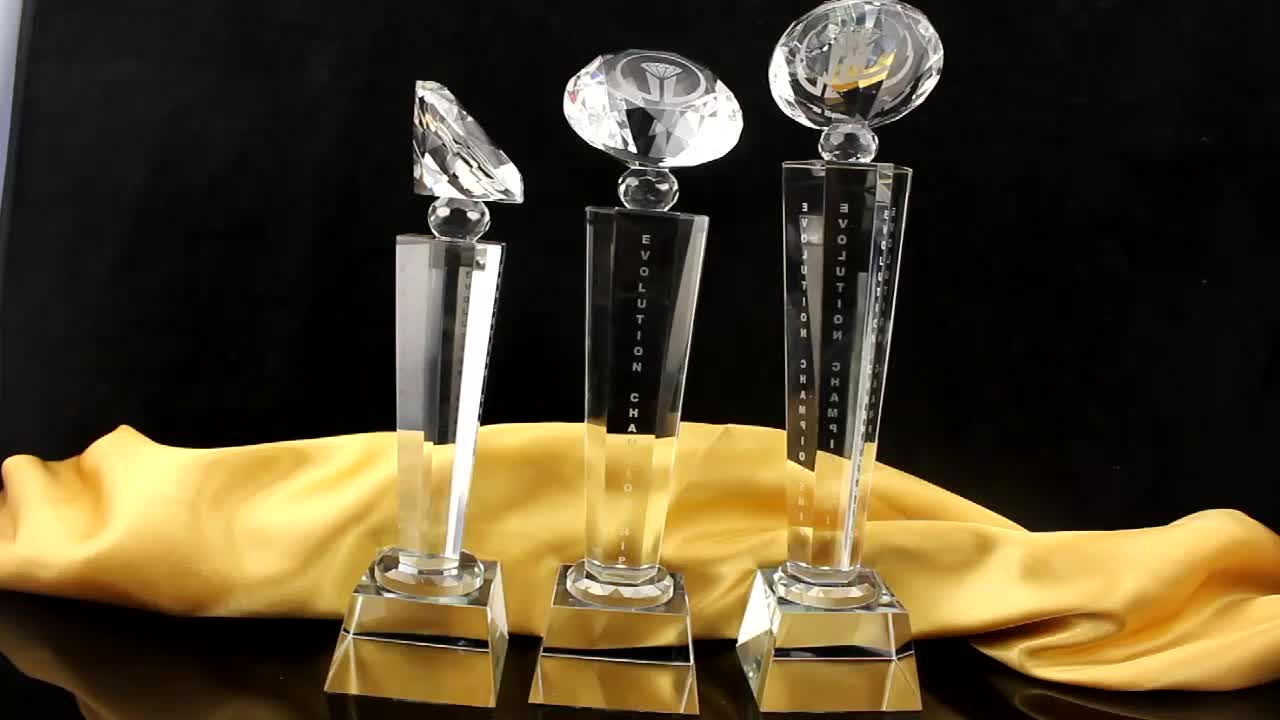 cheap K9 crystal glass diamond trophy and award factory directly offered custom service crystal trophy for competition prize