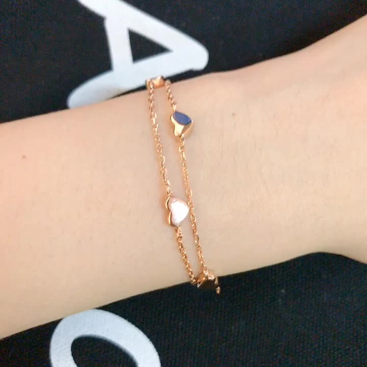 Fashion 18K White Yellow Rose Gold Jewellery Double Chain 925 Sterling Silver Jewelry Heart Charm Bracelets for Ladies