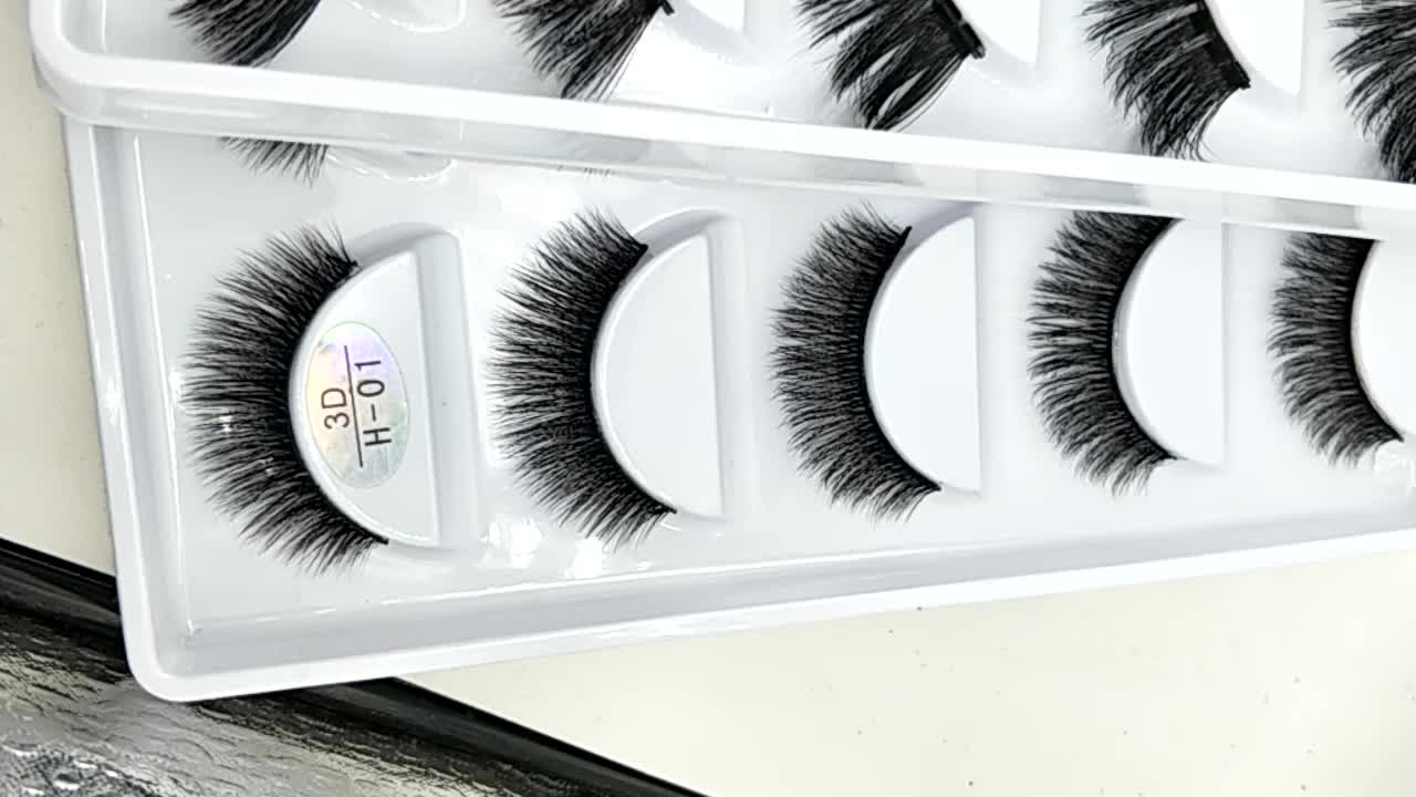 GLB001 Custom label 3d silk false eyelash extensions 5 pairs faux mink eyelashes with cheap price