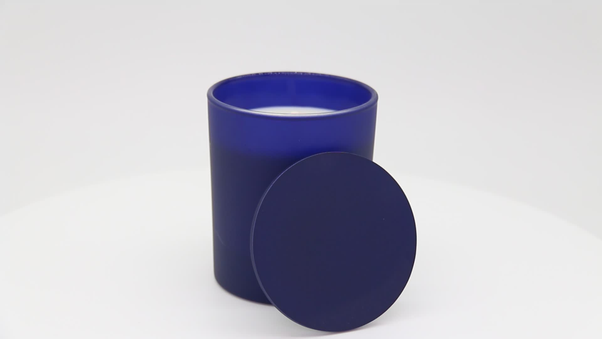 200g soy candle matt color glass jar candle with lid