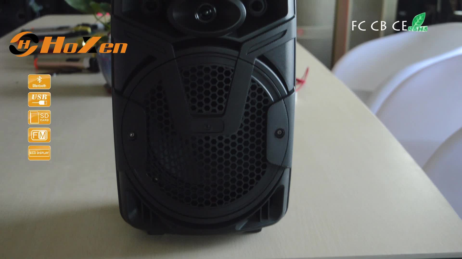 factory promotion sale rechargeable 8 inch portable plastic speaker with 3.7V and 1200MAH