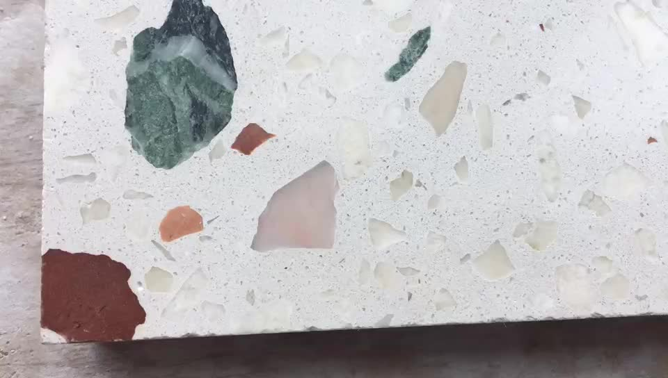 colorful cement and stone chips floor terrazzo tiles