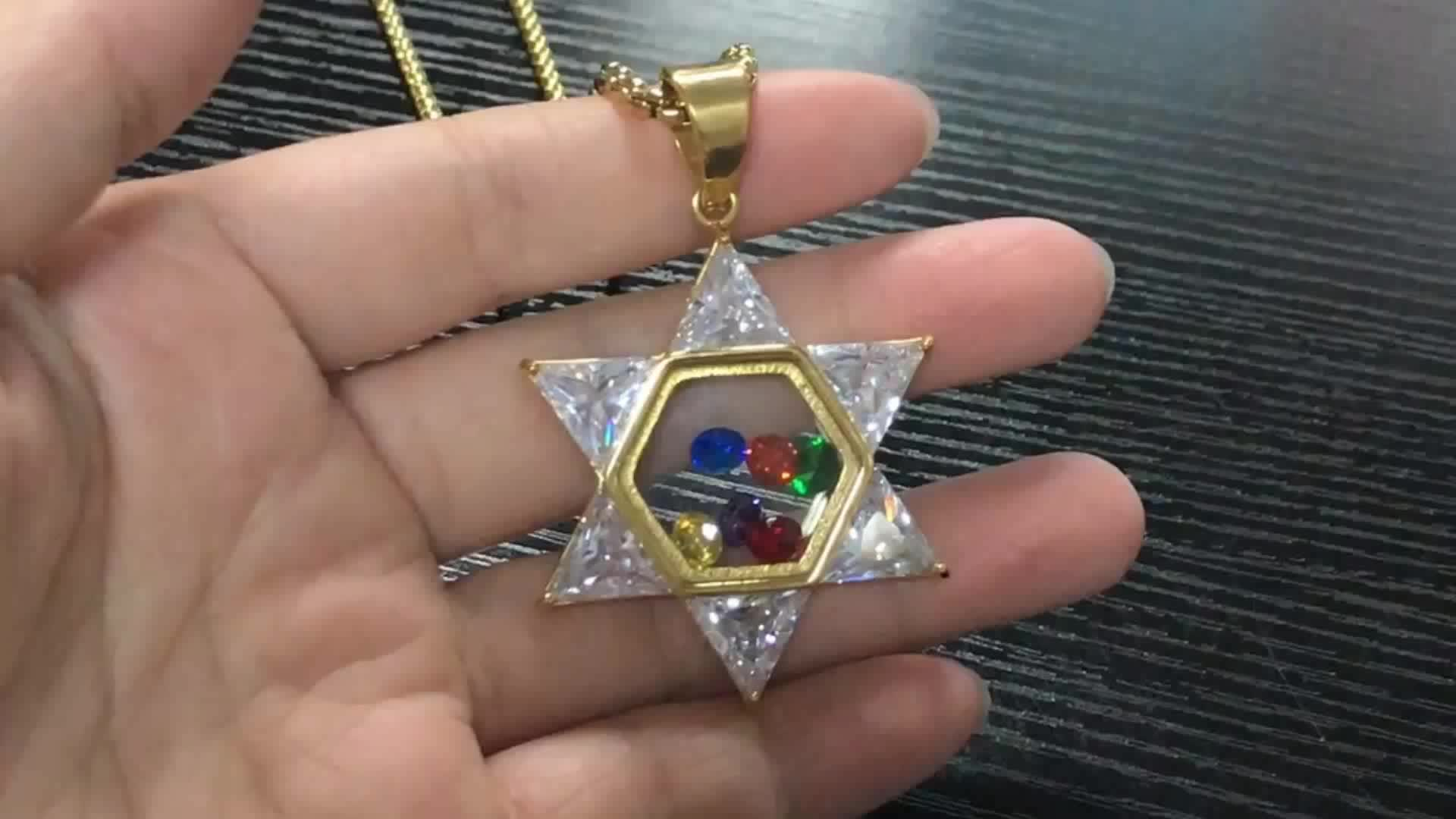 2018 New Hot Selling 16L Stainless Steel IP Gold Plating Transparent Colorful Crystal Zircon Star of David Necklace