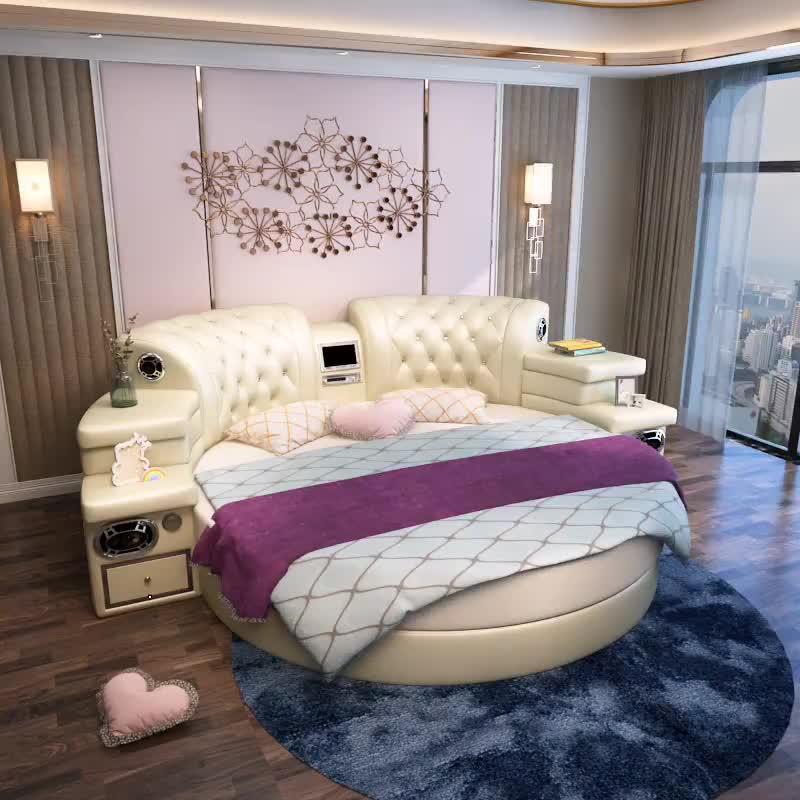 Girls bedroom furniture pink big round leather bed cheap - Cheap bedroom sets for sale online ...