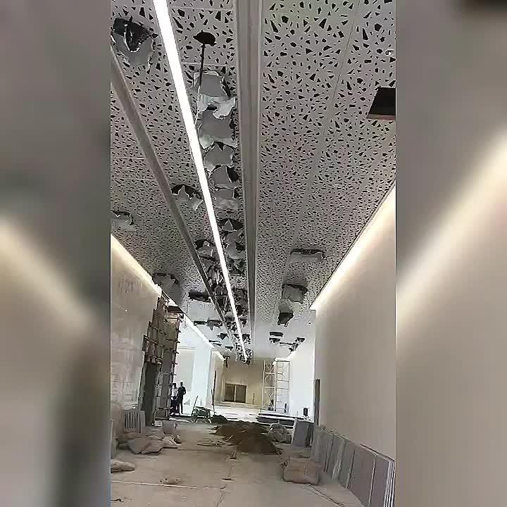 Çin tedarikçisi toz kaplama yüzey Bahar Kanton Fuarı Alüminyum Tavan/Alüminyum Delikli Tavan Fayans ızgara panelleri