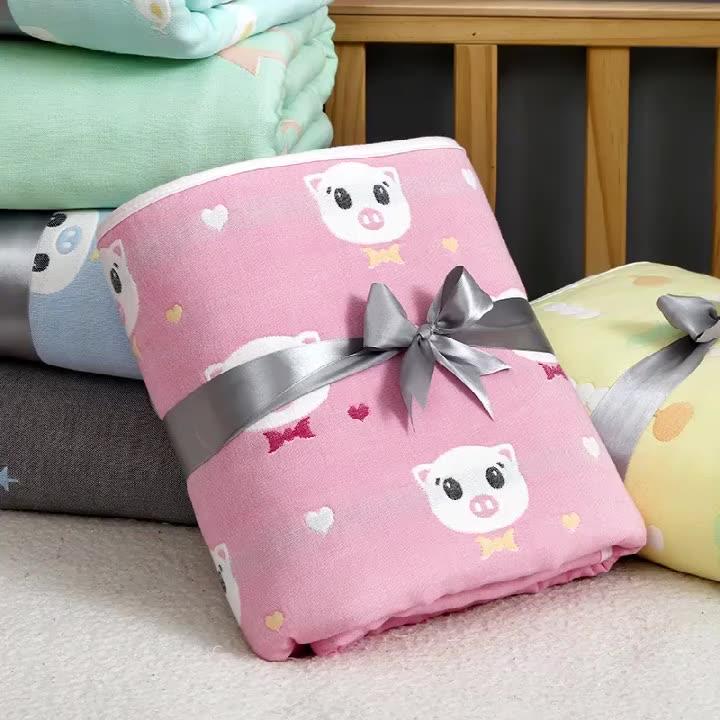 6 레이어 무명 면화 신생아 에센셜 아기 담요 담요