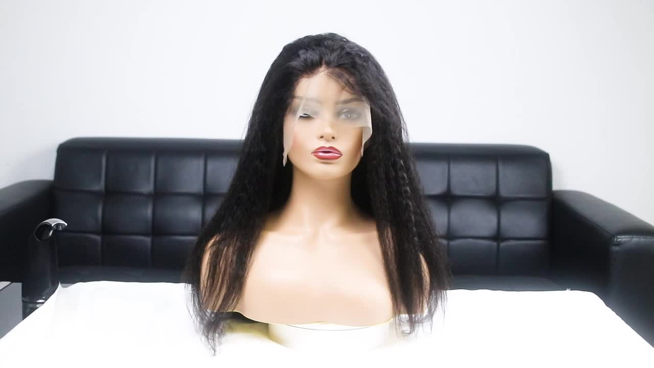 Brazilian Remy Human Hair Kinky Straight 13*6 Lace Front Wigs with Baby Hair For Black Women Deep Part 130% density