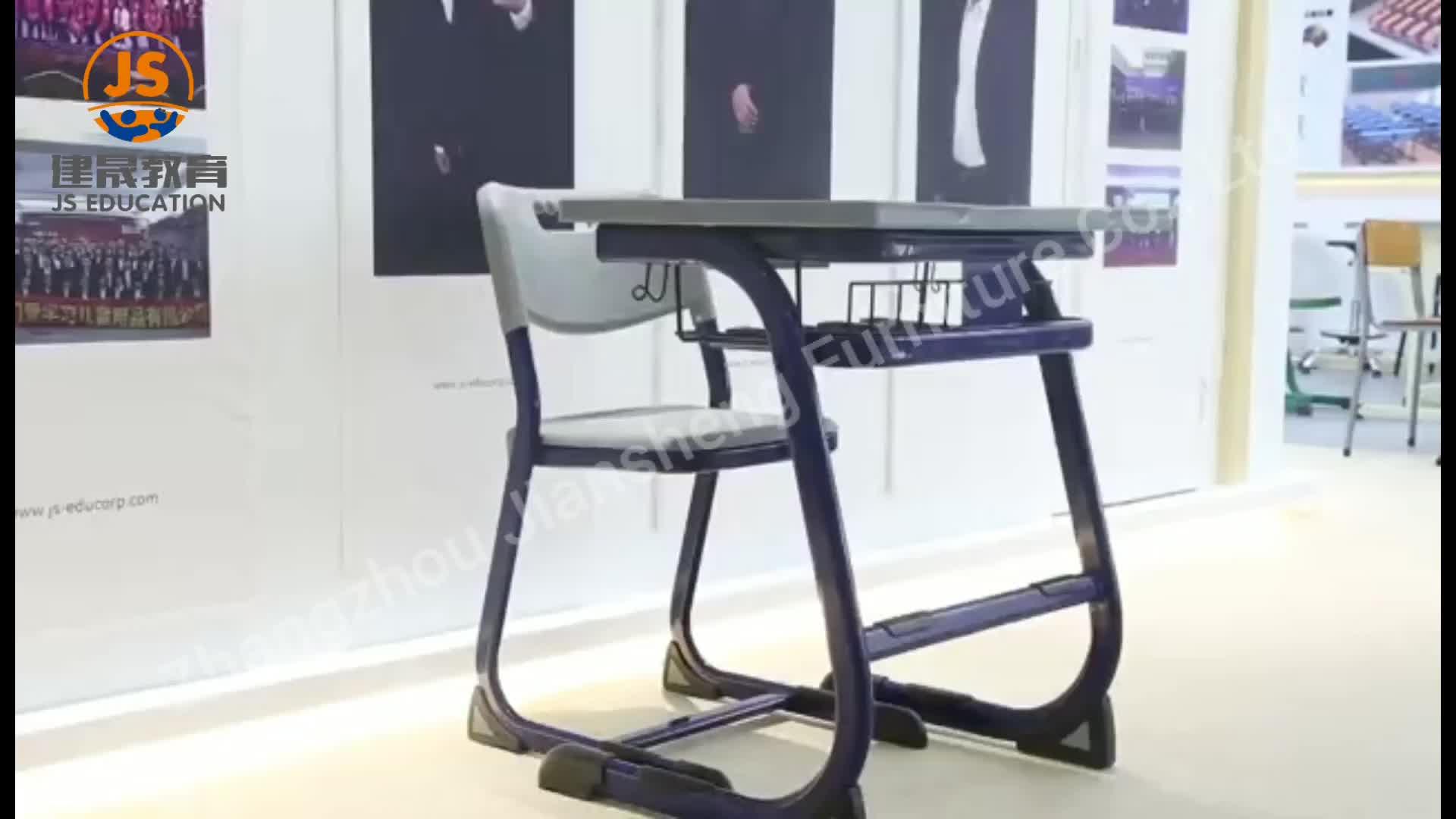 Moderno de alta escuela de metal de muebles de escritorio y silla para estudiantes