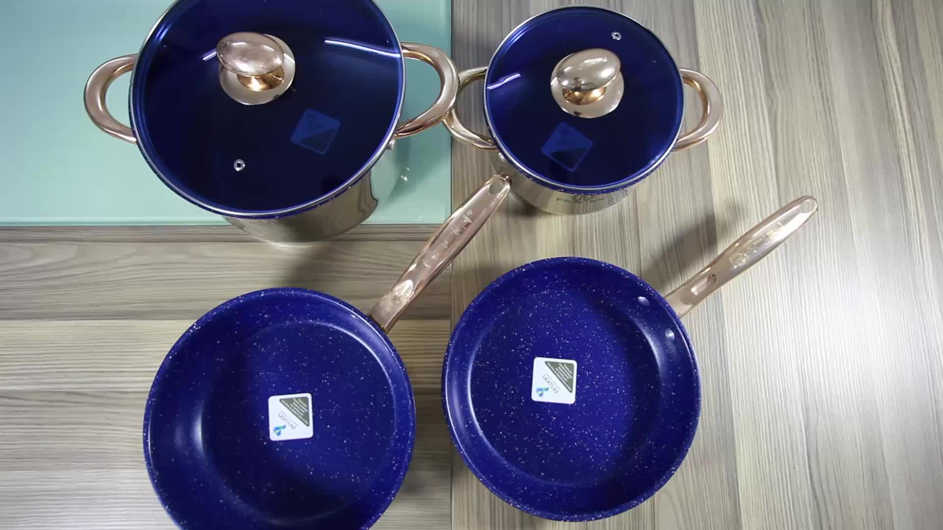 12Pcs Stainless Steel 5-Stepped Bottom Cookware Set With Gold Plated Handle